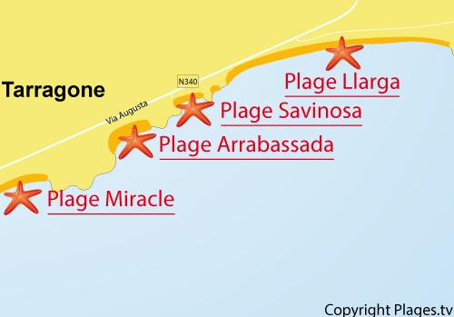 Carte de la plage de Llarga à Tarragone