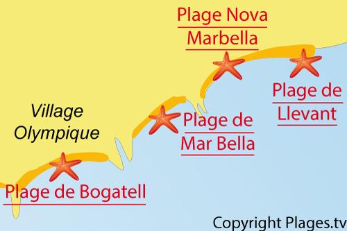 Carte de la plage du Llevant à Barcelone