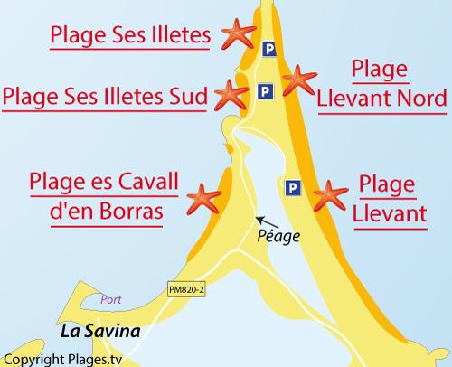 Carte de la plage du Llevant à Formentera