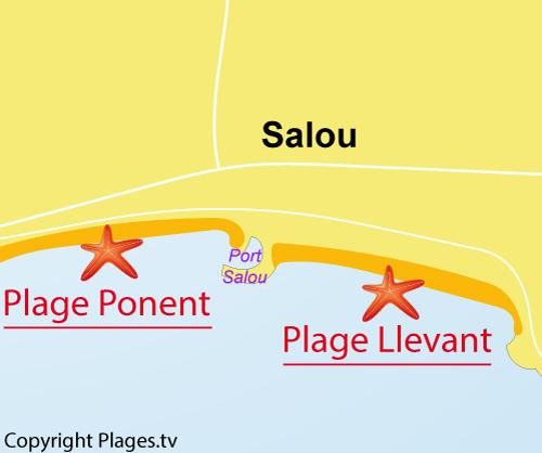 Carte de la plage du Llevant à Salou