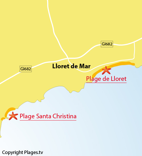 Map of Lloret de Mar beach in spain
