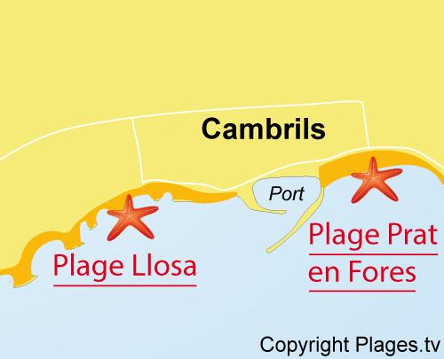 Carte de la plage de Llosa à Cambrils