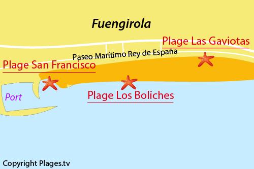 Carte de la plage de Los Boliches à Fuengirola