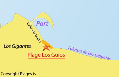 Carte de la plage de Los Guios à Los Gigantes