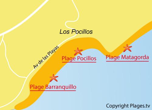 Carte de la plage de Los Pocillos à Lanzarote