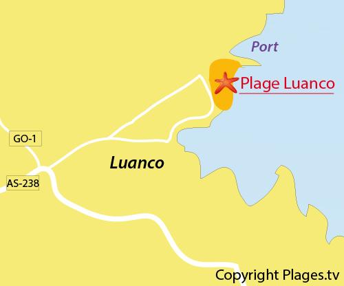Carte de la plage de Luanco en Espagne