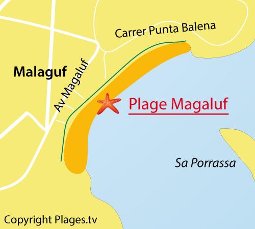 Map of Magaluf beach in Spain - Majorca