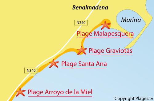 Carte de la plage de Malapesquera à Benalmadena