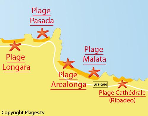 Carte de la plage de Malata à Barreiros - Galice