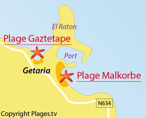 Carte de la plage de Malkorbe de Getaria - Espagne