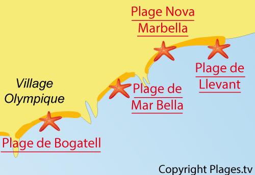 Carte de la plage de Mar Bella à Barcelone