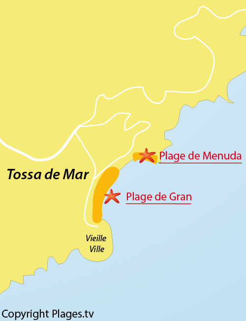 Carte de la plage de Mar Menuda à Tossa de Mar - Costa Brava