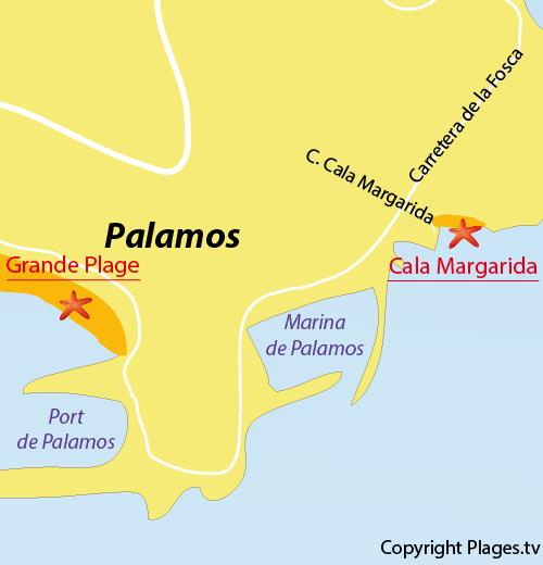 Carte de la plage de Margarida à Palamos en Espagne