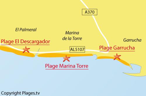 Carte de la plage de la Marina de la Torre - Mojacar