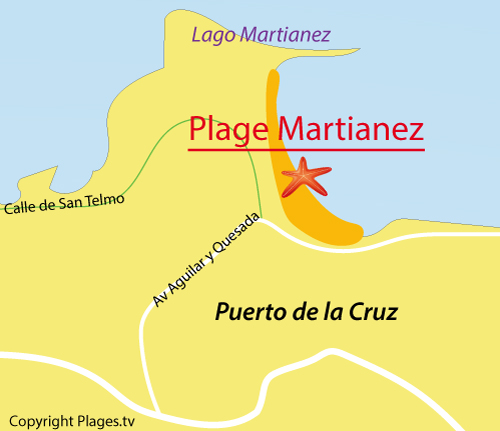 Carte de la plage Martianez à Puerto de la Cruz - tenerife