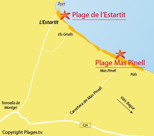 Carte de la plage de Mas Pinell à l'Estartit