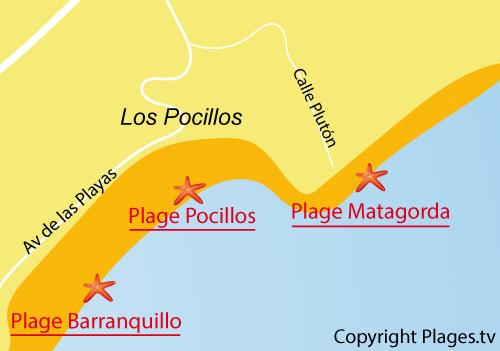 Carte de la plage de Matagorda à Lanzarote