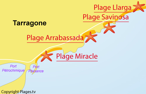 Map of Miracle Beach in Tarragona in Spain