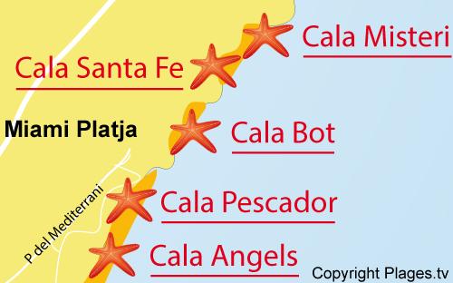 Carte de la plage de Cala Santa Fe à Miami-Platja