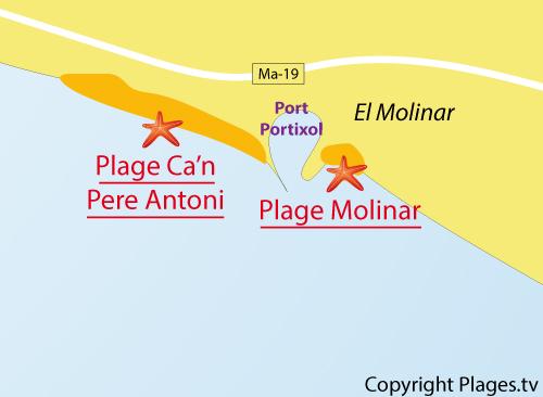 Carte de la plage de Molinar à Palma de Majorque