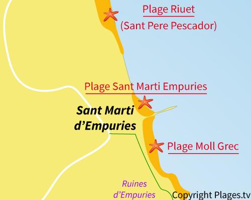 Carte de la plage de Moll Grec - Sant Martí d'Empúries