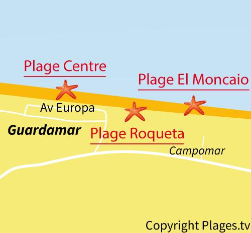 Carte de la plage de Moncaio à Guardamar en Espagne
