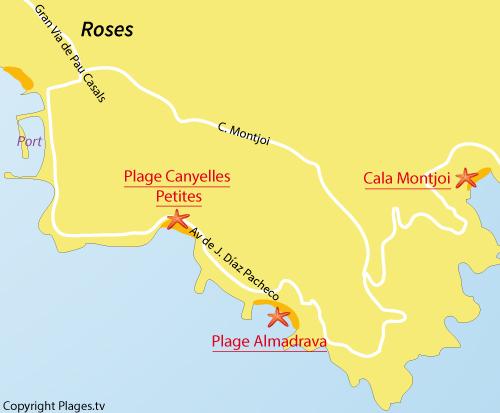 Carte de la plage de Montjoi à Roses en Espagne