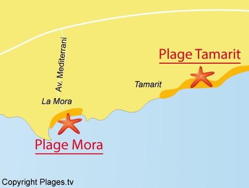 Map of Mora Beach in Tarragona - Spain