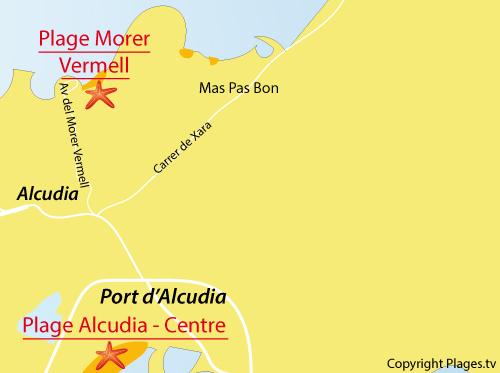 Carte de la plage de Morer Vermell à Alcudia