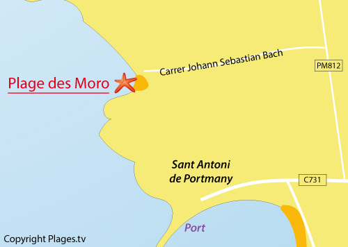 Carte de la plage des Moro à Sant Antoni - Ibiza
