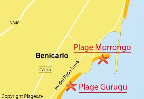 Carte de la plage de Morrongo à Benicarlo - Espagne