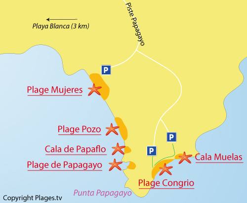 Map of Mujeres Beach in Playa Blanca - Lanzarote