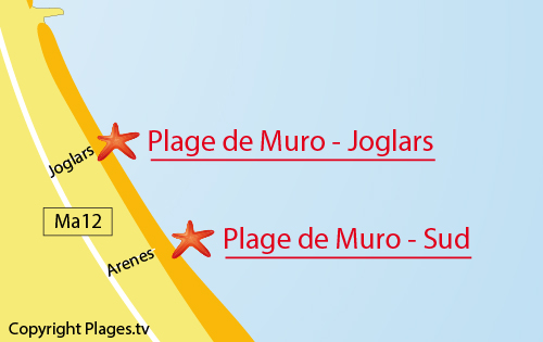 Carte de la plage de Muro - Joglars - Majorque