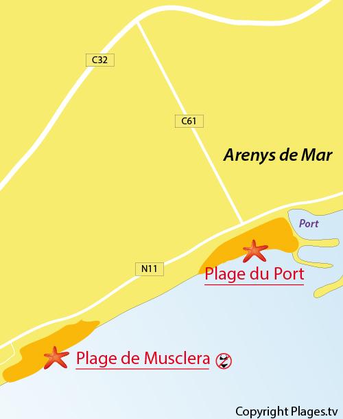 Carte de la plage de Musclera à Arenys de Mar