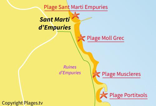 Carte de la plage des Muscleres à L'Escala - Espagne