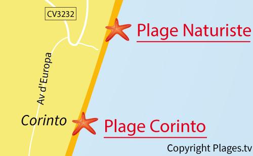 Carte de la plage Naturiste d'Almarda