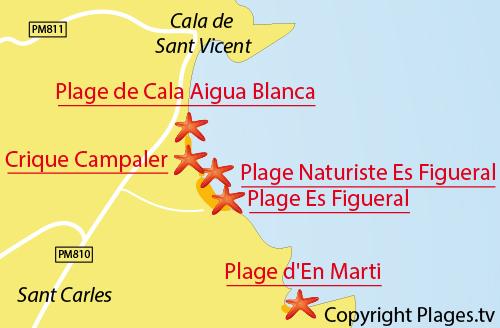 Carte de la plage naturiste d'Es Figueral à Ibiza