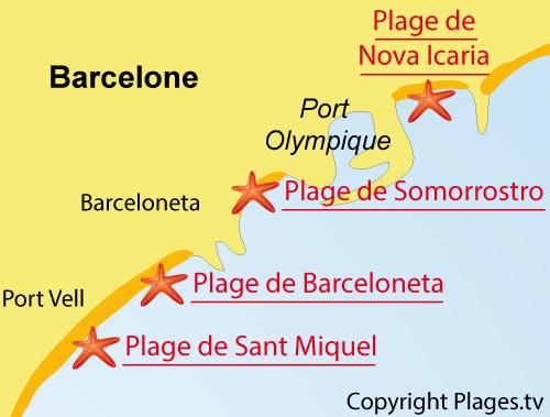 Carte de la plage de Nova Icaria à Barcelone