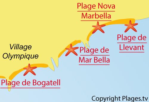 Carte de la plage de Nova Mar Bella à Barcelone