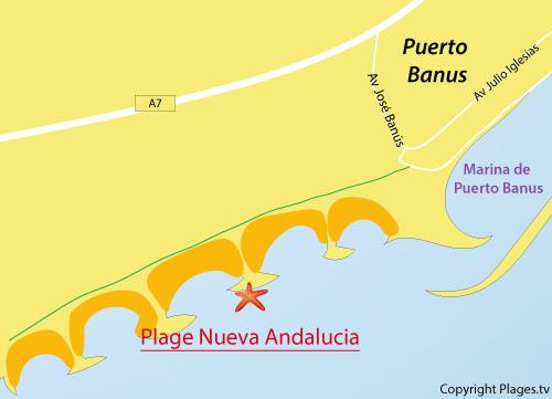 Carte de la plage de Nueva Andalucia à Puerto Banus - Marbella