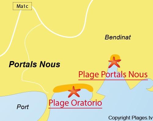 Carte de la plage d'Oratorio à Portals Nous - Majorque
