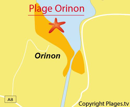 Carte de la plage d'Orinon en Cantabrie - Espagne