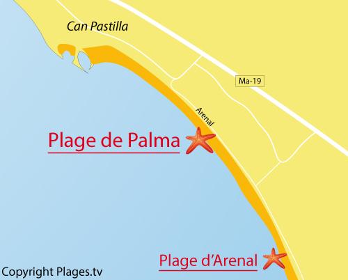Carte de la plage de Palma de Majorque