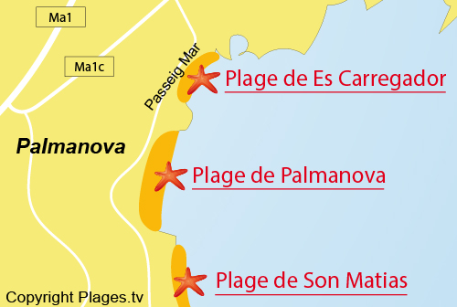 Carte de la plage de Palmanova à Majorque