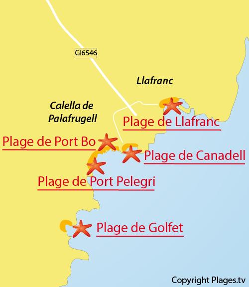 Carte de la plage de Pelegri à Calella de Palafrugell