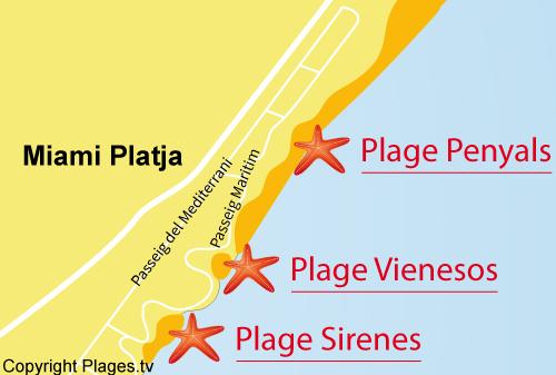 Carte de la plage de Penyals à Miami Platja