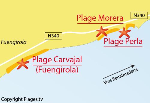 Carte de la plage de Perla à Benalmadena - Espagne