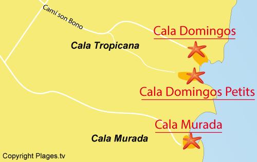 Carte de la plage du Petit Domingos à Majorque