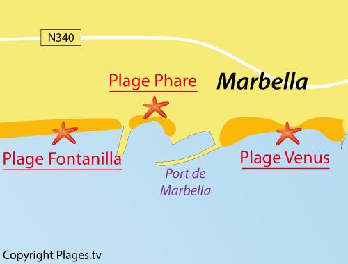 Carte de la plage du Phare à Marbella - Espagne