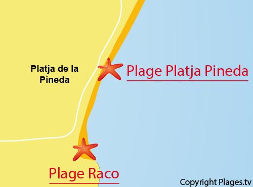 Carte de la plage de Pineda en Espagne